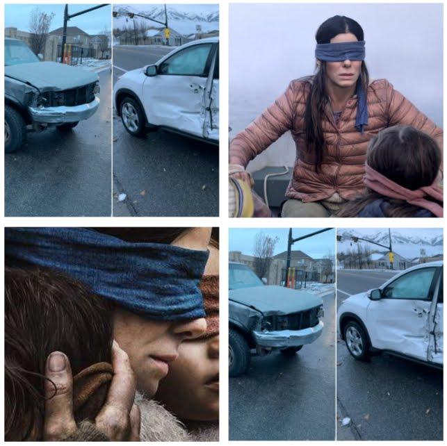 Giovane guida auto bendata come in Bird Box, film horror di Netflix.