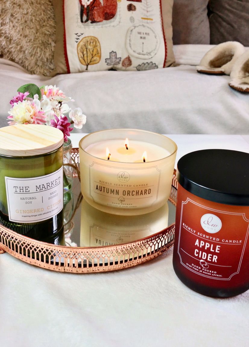 Homesense Autumn Candle Haul Including DW Home Autumn Orchard, DW Home Apple Cider and The Market Gingered Citron.