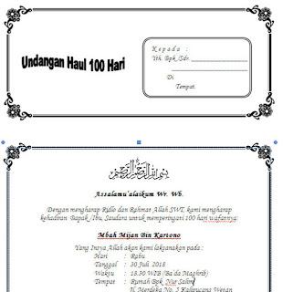 Contoh Undangan Tahlil Lengkap Haul 40 Hari 100 Hari Dan 1000 Hari