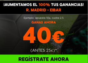 888sport aumento 100% beneficios Real Madrid vs Eibar o Barcelona vs Malaga