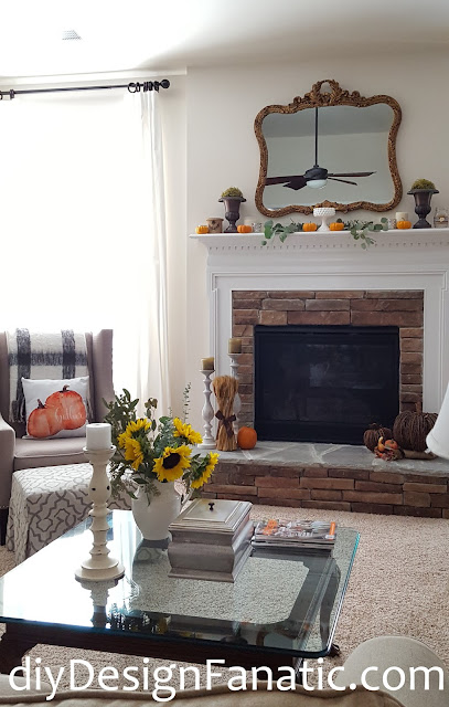 fall, sunflowers, mantel, farmhouse, cottage, farmhouse style, cottage style, family room, Craftberry Bush, fall pillows