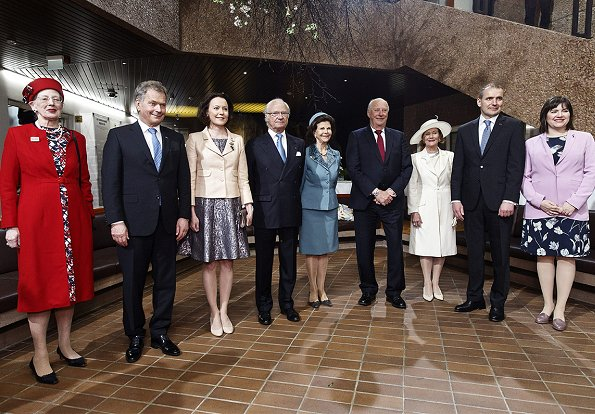 Nordic royals. Queen Margretha, King Carl Gustaf, Queen Silvia, King Harald, Queen Sonja visited the Hanaholmen culture center. Jenni Haukio