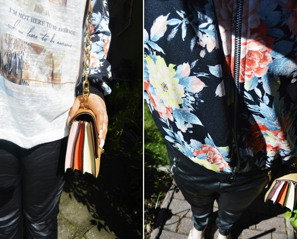 Outfit with black leather imitate pants Zarah of myonbelle and flower printed bomberjacket  - fashion blogger Annie K, founder, CEO and writer of ANNIES BEAUTY HOUSE