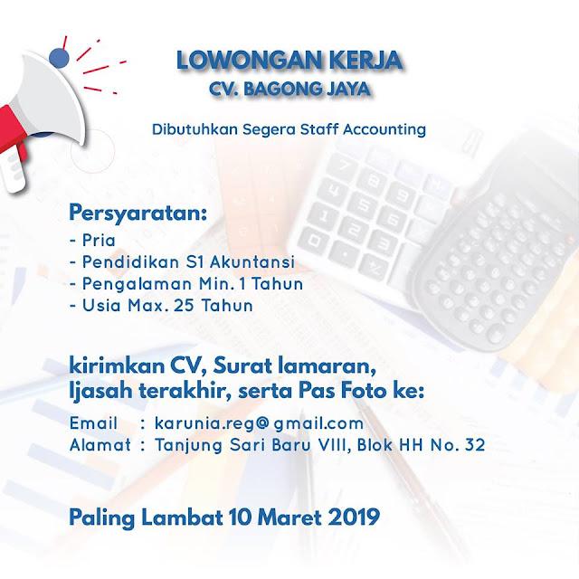 lowongan kerja staff accounting cv bagong jaya surabaya
