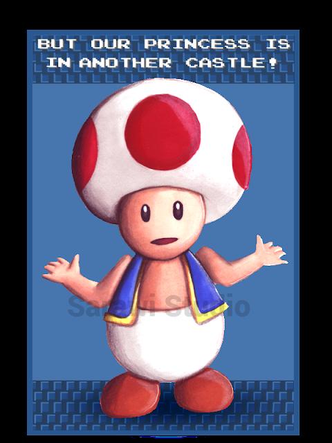super mario bros, mario, toad, princess is in another castle, fanart, rysunek, grzybek, gra, nintendo, nes, retro, cytat księżniczka jest w innym zamku, drawing, 30 day, drawing, challenge, comcom!!