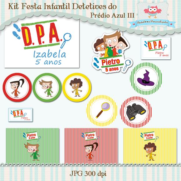 DPA, Detetives do Prédio Azul, arte digital, kit digital, painel, topper, doces, tags, tag, centro de mesa, bolinha de sabão