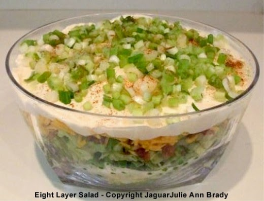 Top View of my Artistic Eight Layer Salad