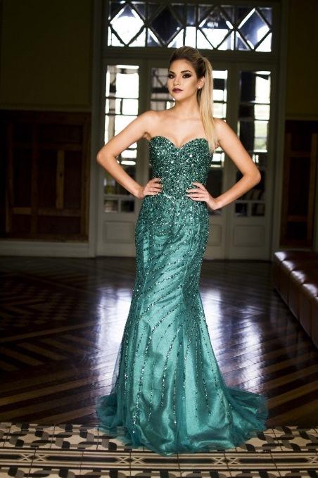 vestido de festa verde formatura