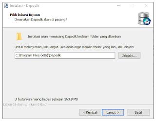 Lokasi tujuan instalasi aplikasi dapodik versi 2019