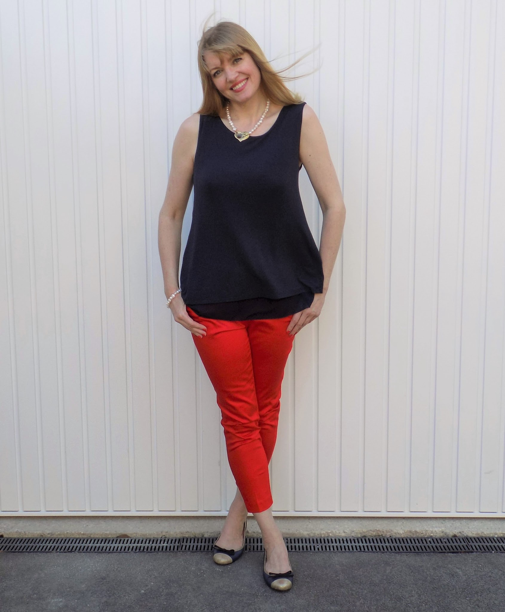 Red cropped trousers, Danon freshwater pearl jewellery and Taylor Blake ballerinas