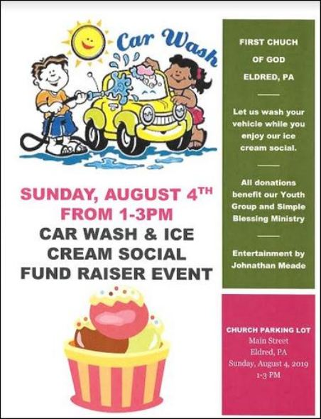8-4 Car Wash & Ice Cream Social Fundraiser