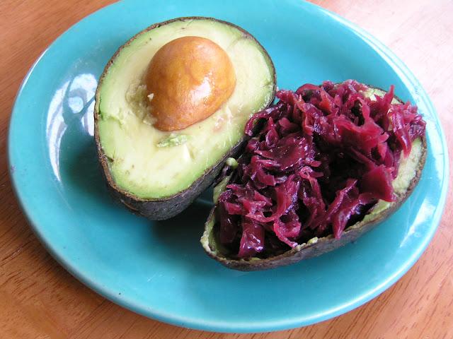 purple sauerkraut with avocado
