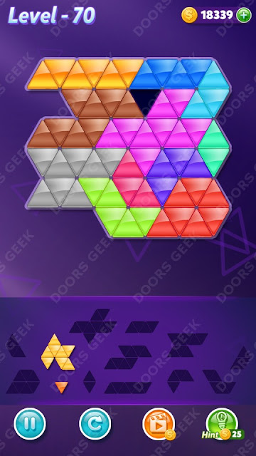 Block! Triangle Puzzle 12 Mania Level 70 Solution, Cheats, Walkthrough for Android, iPhone, iPad and iPod