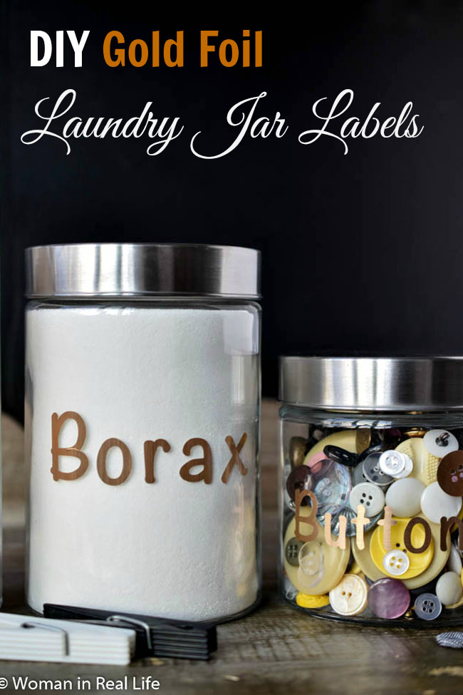 Organize open laundry room shelving using glass canisters and DIY gold foil labels (using a Cricut or other cutting machine)