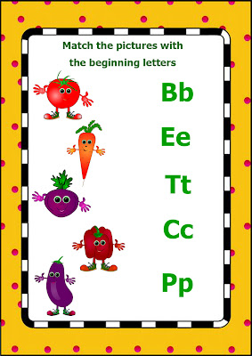 vegetables worksheet – match pictures and beginning letter