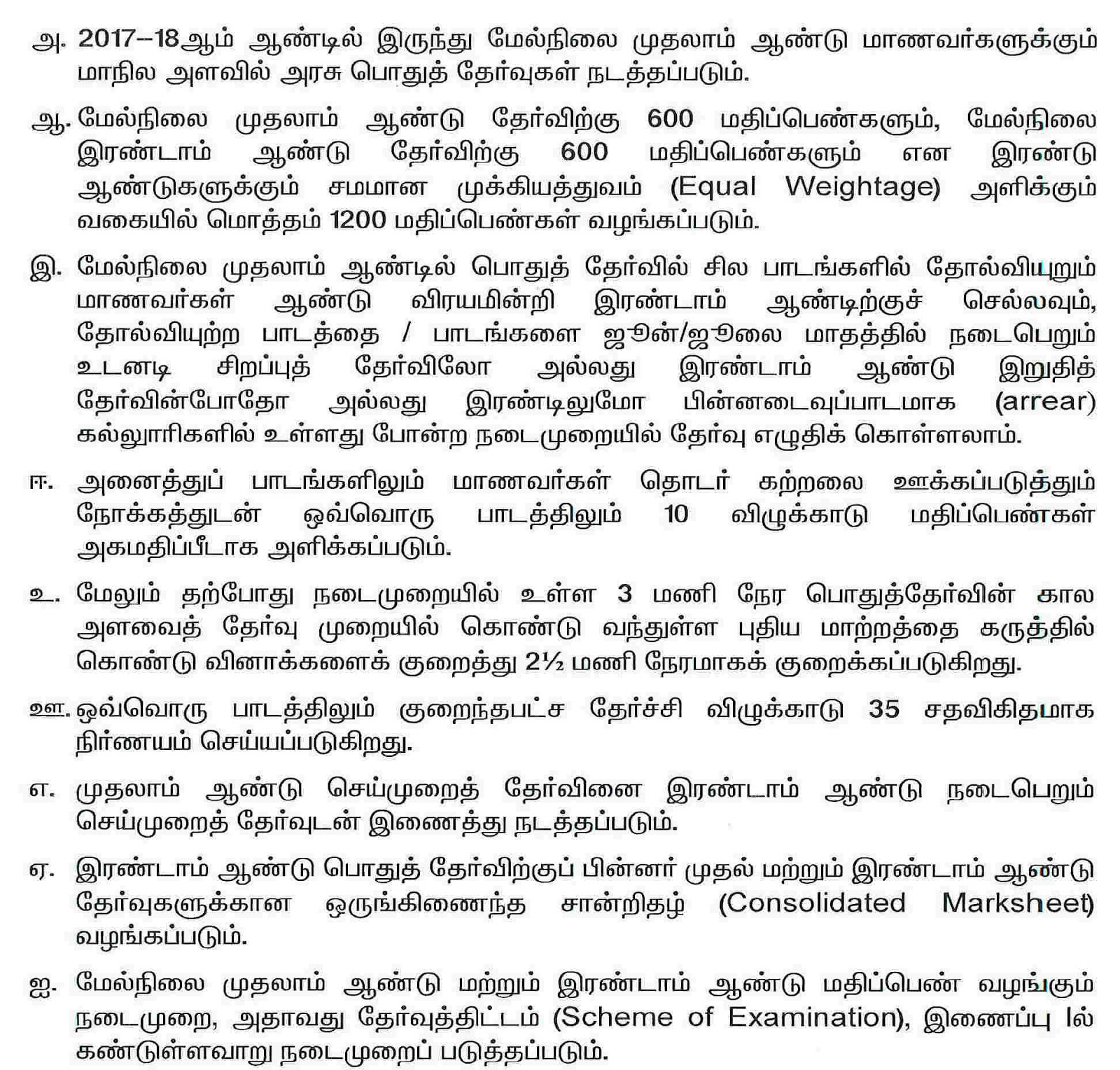 TN 11th Public Exam Changes in Tamil