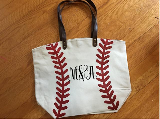 monogram silhouette cameo baseball tote