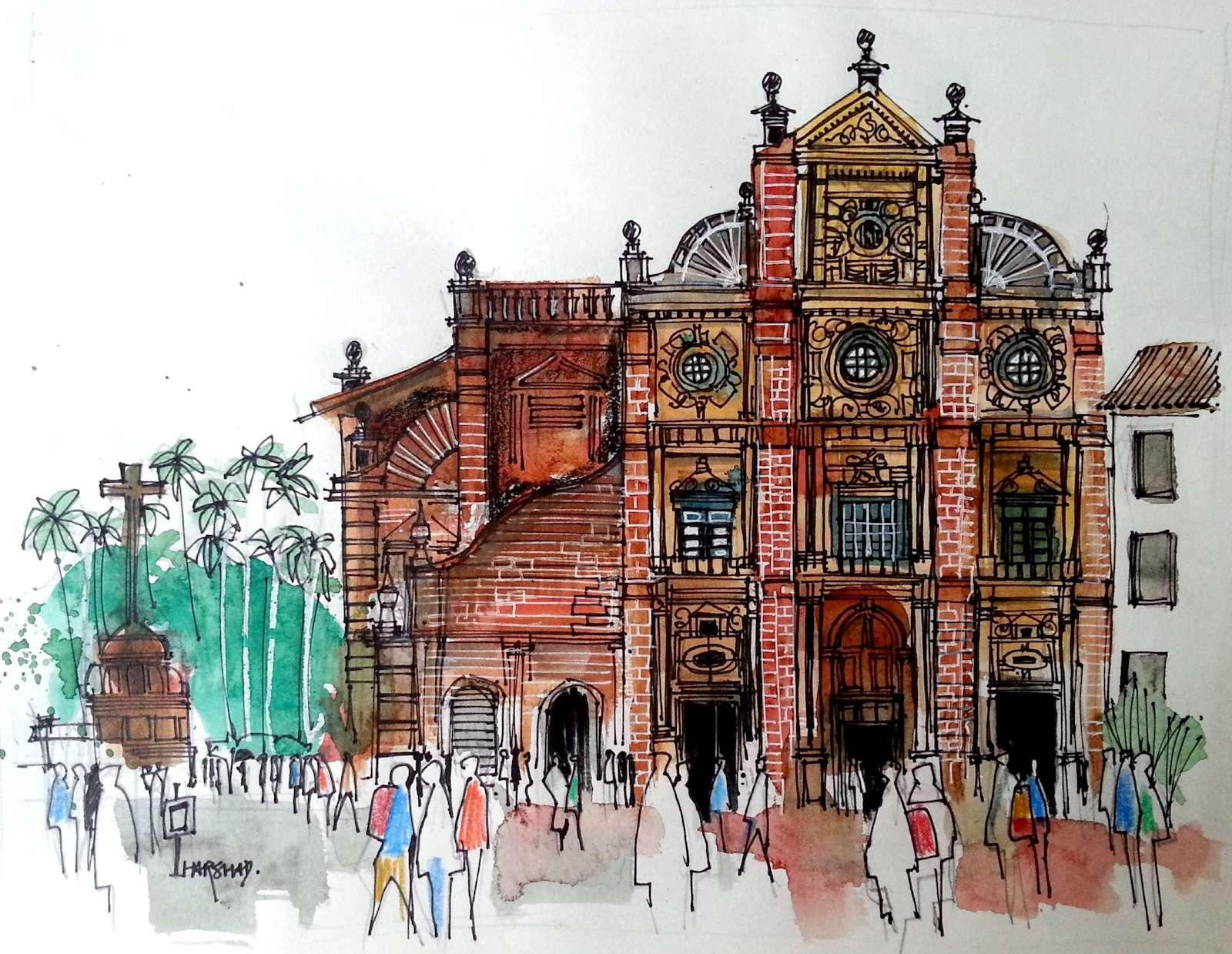 Religious architecture blends in goa urban sketchers for Architecture design for home in goa