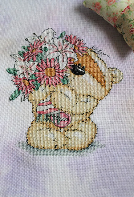 Fizzy Moon Cross Stitch Finish, Fizzy Moon Teddy, Handmade, Hand Stitched, Cross Stitch Project, The World of Cross Stitching