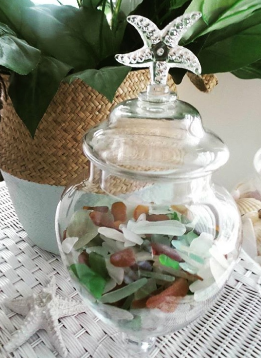 Decorative Seaglass Apothecary Jar
