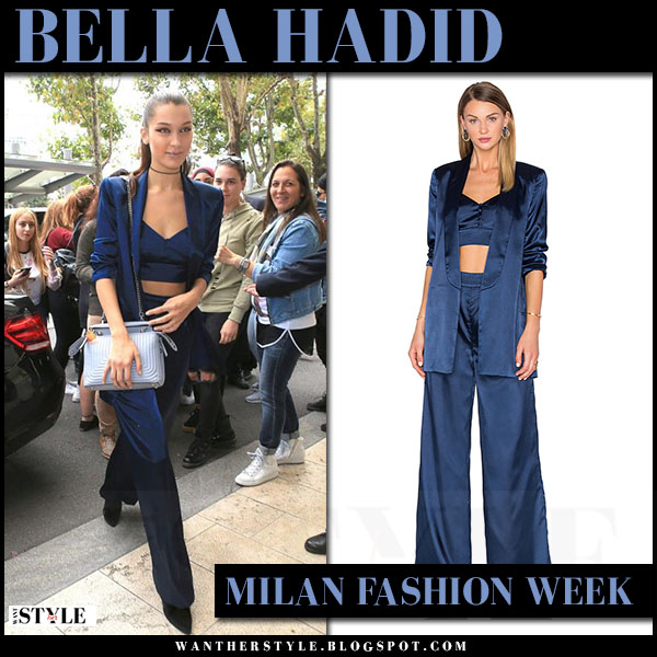 Bella Hadid in satin navy blue blazer, bralette top and wide pants house of harlow milan fashion week