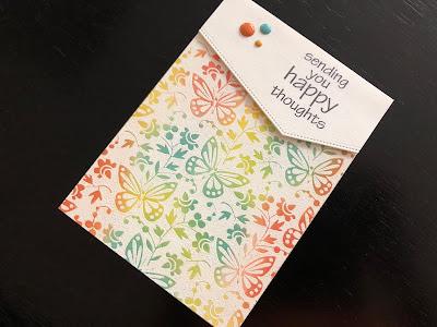 Hand Made Emboss Resist Birthday Butterflies Card