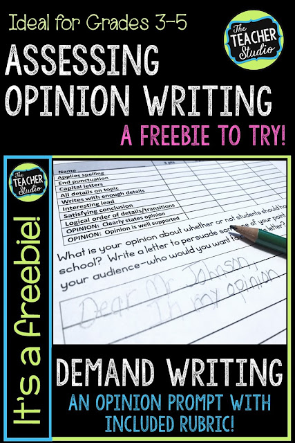 Teaching writing is never easy...but demand prompts can help you see exactly what your students are doing well and need help with.  Check out this post with a freebie to help you with writing assessment. Writing freebie, demand writing, writing prompts, opinion writing, teaching opinion writing, assessing writing, writing lessons