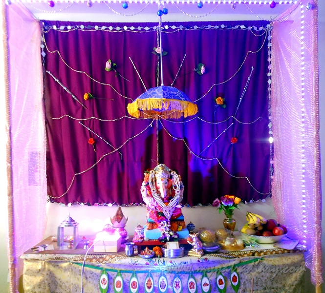 A decorated canopy of a Home Ganesha in Mumbai, Ganesh Chaturthi festival