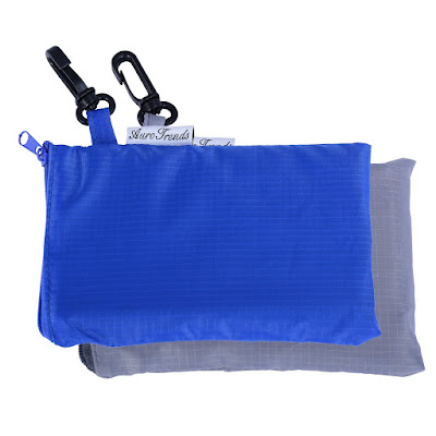 Reusable folding shopping totes.
