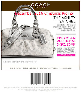 free Coach coupons december 2016