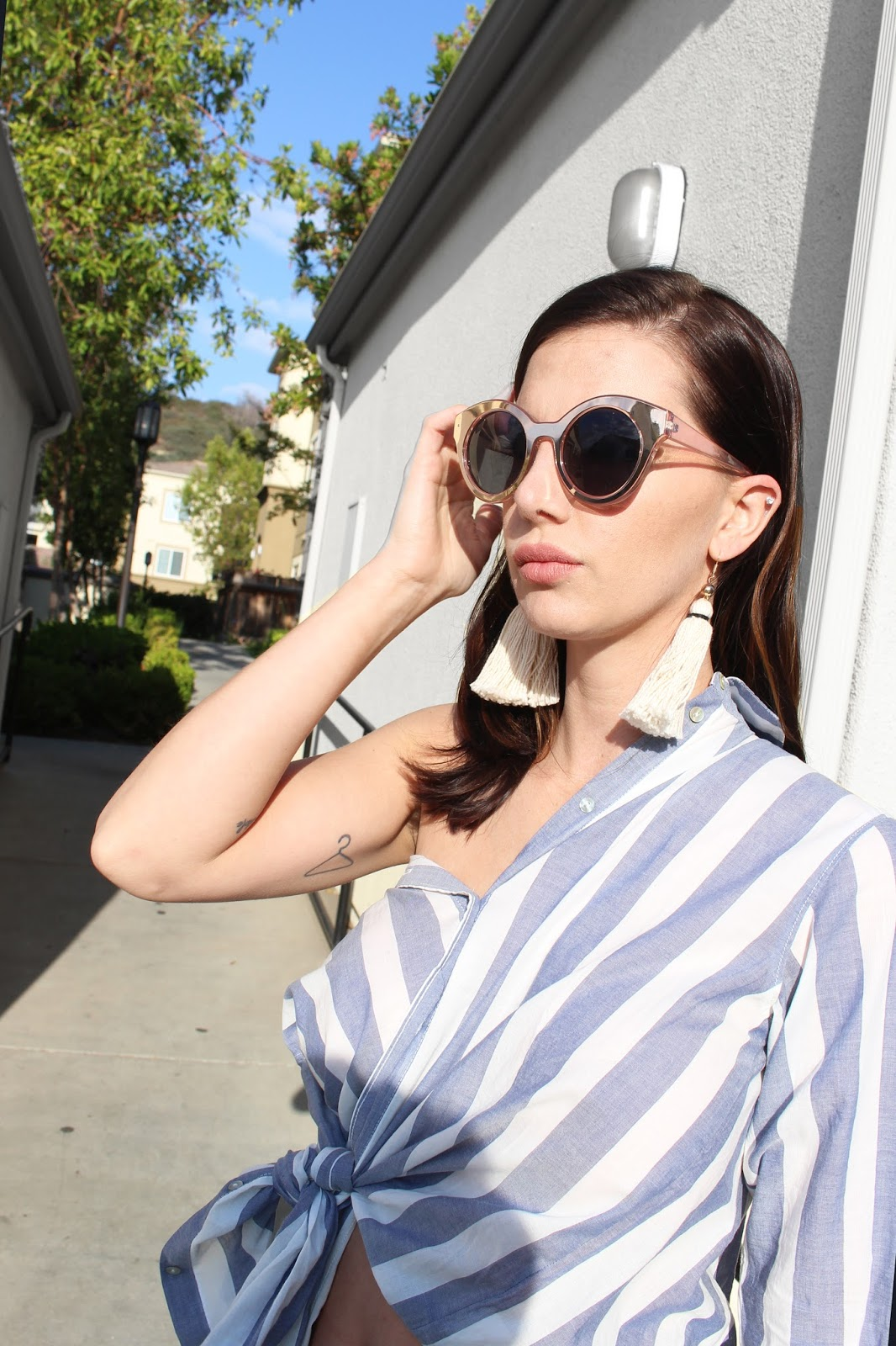 button up off shoulders and tassel earrings