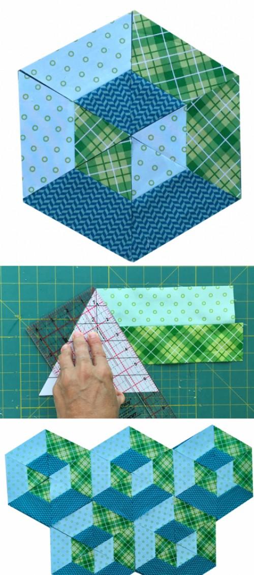 3D Hexagon Quilt Block - Tutorial