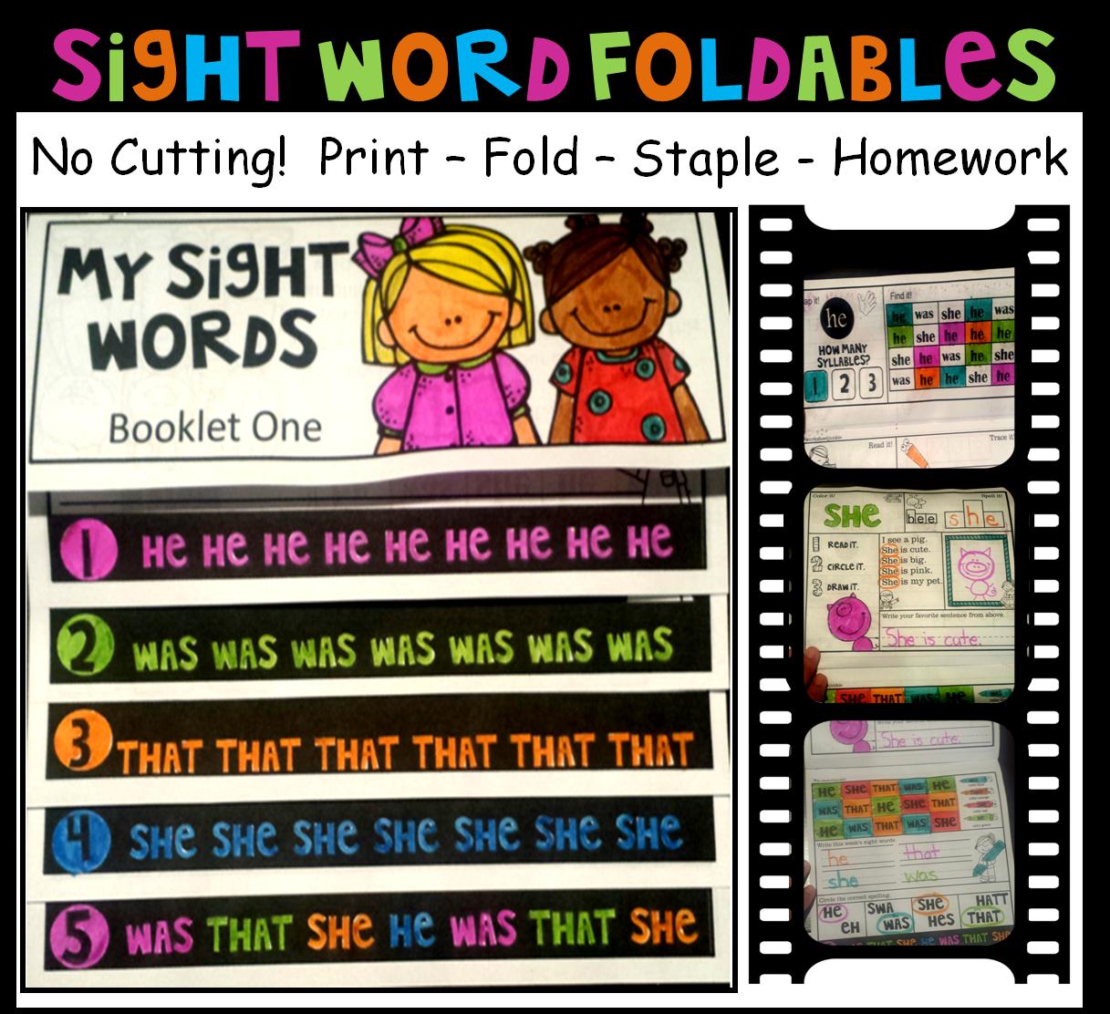 Worksheetjunkie Sight Word Foldables And Crowns