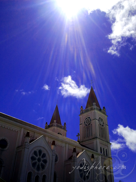 Sun shining through the twin towers of Baguio Cathedral