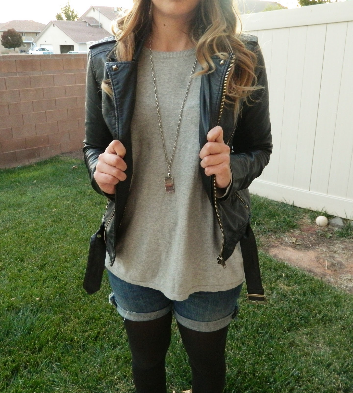 leather jacket, grey top