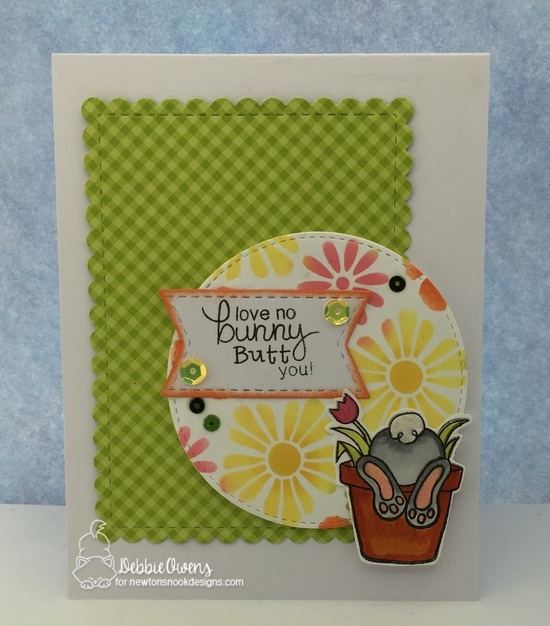 Love no bunny butt you by Debbie features Bunny Hop, Bold Blooms, Framework, and Flags & Frames by Newton's Nook Designs; #newtonsnook