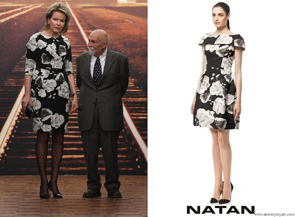 Queen Mathilde wore Natan black and white floral dress