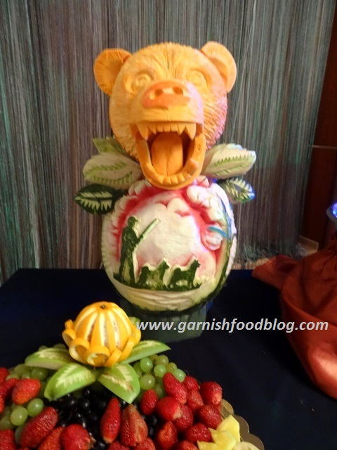 hunting theme fruit display watermelon carving