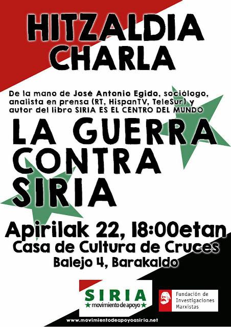 Cartel de a charla sobre la guerra en Siria