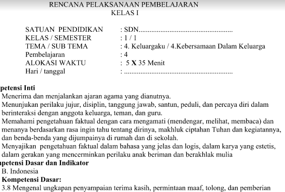 RPP Kurikulum 2013 SD Kelas 1 Tema 4 Subtema 4 Pembelajaran 4 Revisi 2016