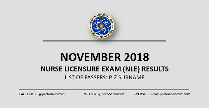 P-Z LIST OF PASSERS: November 2018 NLE Results