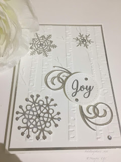 Christmas Card, Woodland embossing folder, snowflakes, Stampin Up,