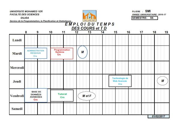 SMI S6 : Emplois du temps des Cours et TDs 2016/2017