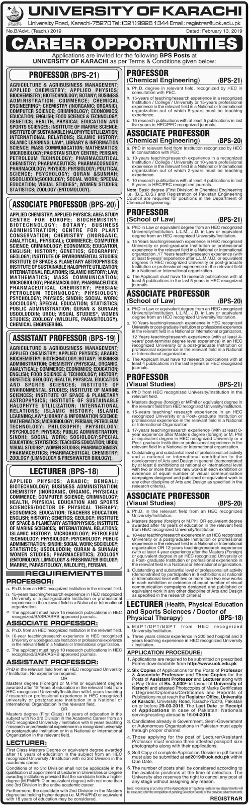 University of Karachi Jobs 2019 For Professor, Lecturer and others | Download Application Form