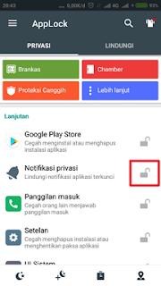Mengunci aplikasi pertama kali