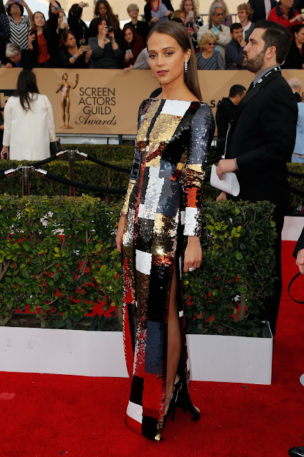 WHO WORE WHAT?.....2016 SAG Awards Red Carpet: Alicia Vikander in Louis Vuitton