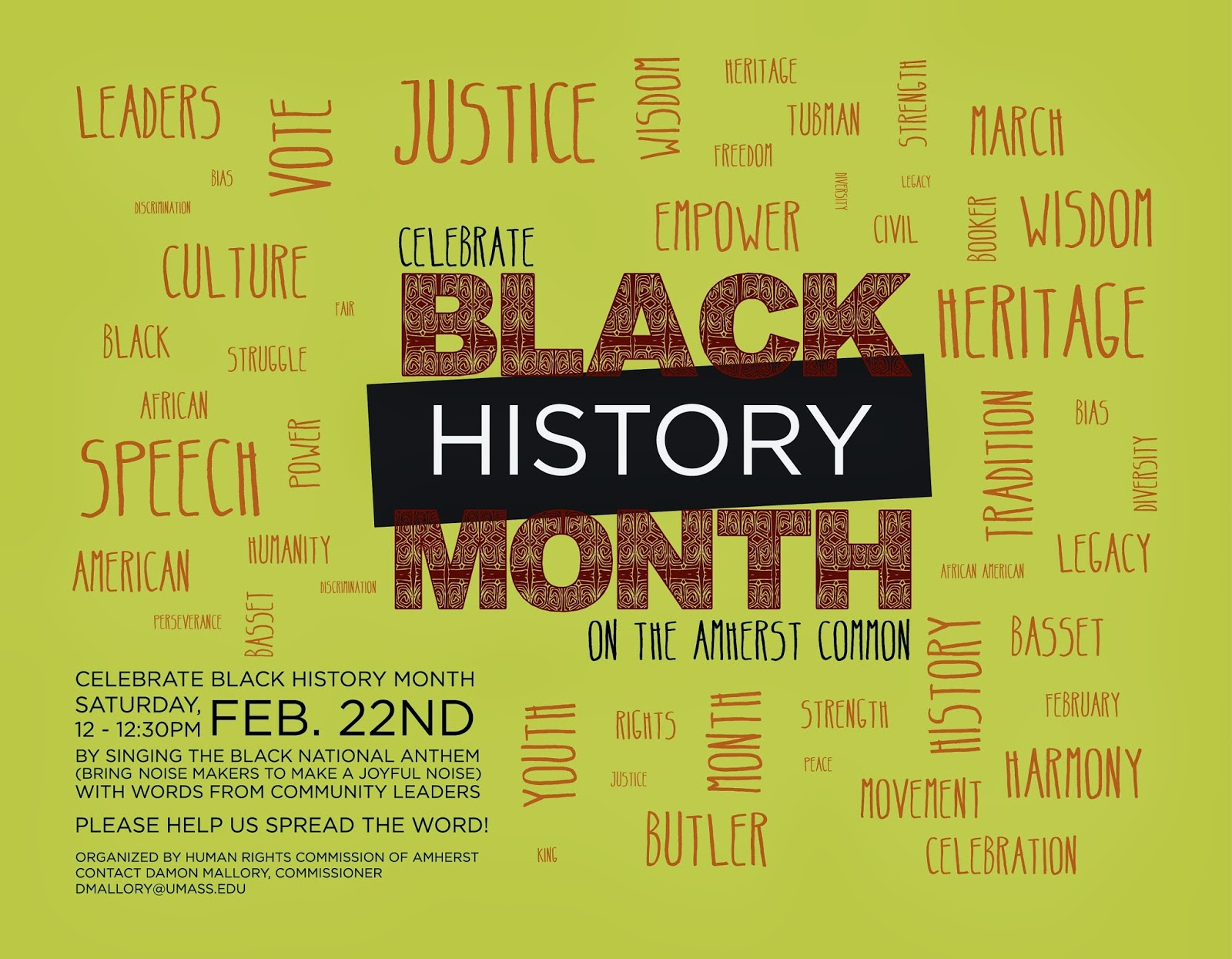 Celebrate The First Public Black History Month Event On Amherst Common Saturday February 22 2014 From 12 1230PM