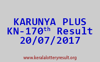 KARUNYA PLUS Lottery KN 170 Results 20-7-2017