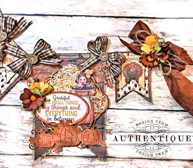 Authentique Pleasant Thanksgiving Banner Tutorial by Kathy Clement Photo 12