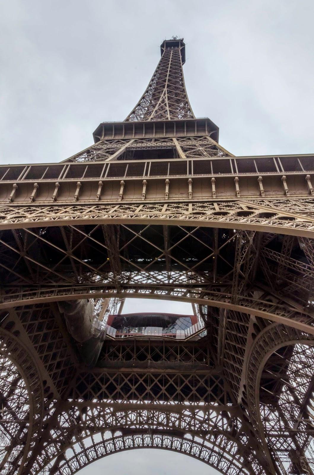 Em baixo da Torre Eiffel